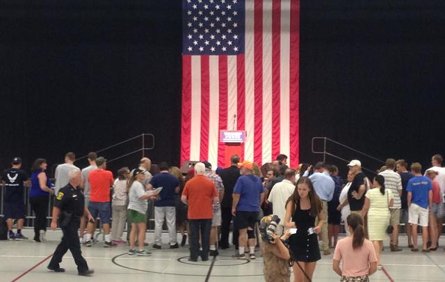Crowds gather to see Mr. Trump speak in Fairfield (WFSB)