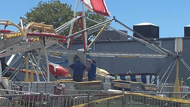 Crews worked on the Scrambler Ride on Wednesday after six people were shocked on it. (WFSB photo)