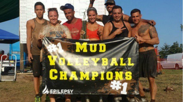 The annual mud volleyball tournament was held today. (Epilepsy Foundation)
