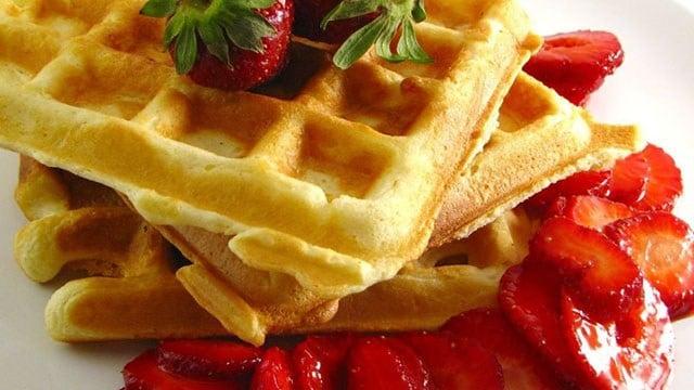 Classic waffles as made by a recipe on AllRecipes.com. (AllRecipes ...