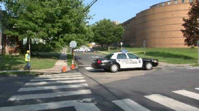 The main was shut down at 4:15 p.m., and the break happenednear the intersection of Ledger Street. (WFSB)