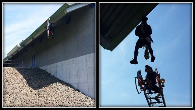 A construction worker was rescued after he slipped off a building (Hamden Fire Dept.)