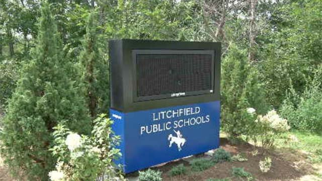 A Litchfield school sign was ruined by vandals. (WFSB)