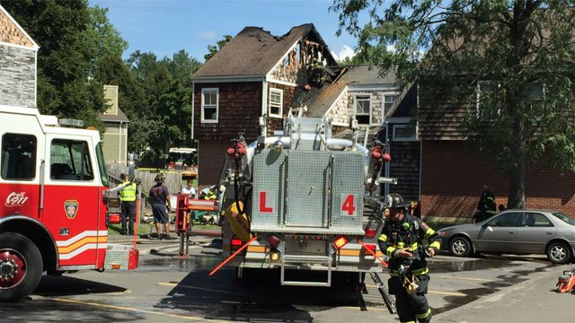 Hartford firefighters battled a fire on Jackson Boulevard on Friday.  (WFSB)