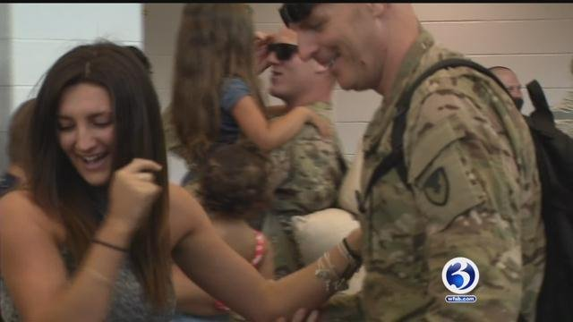 The National Guard unit returned from deployment  to Kuwait and Afghanistan on Friday. (WFSB)
