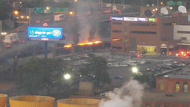 A fire broke out on three rail cars in Hartford. (Eyewitness photo)