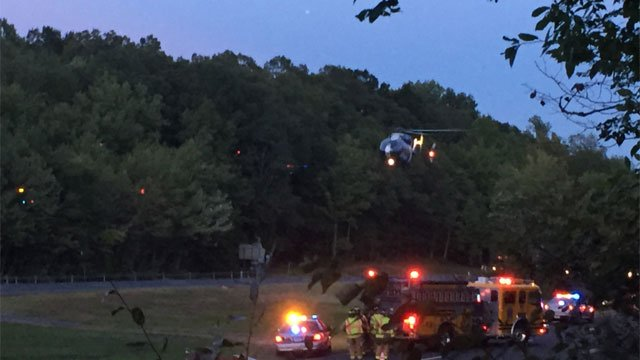 Life Star medical helicopter was called to a crash on Route 9 in Haddam. (Steve Pietruszka)