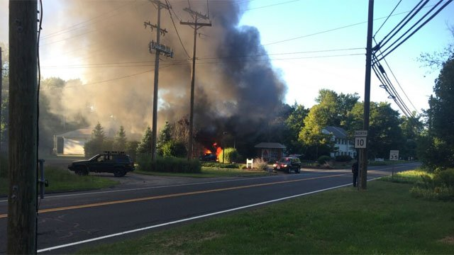 An eyewitness took a photo of the Gas Station fire in Farmington. (WFSB)