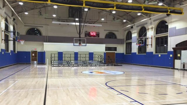 A newly renovated gym at West Middle School