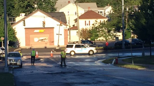 A water main break closed part of Capitol Avenue in Hartford Tuesday. (WFSB photo)