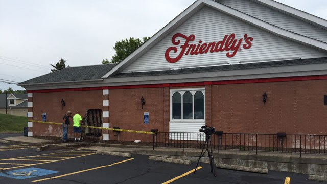 A vehicle slammed into the wall of this Friendly's in Cromwell Wednesday morning. (WFSB photo)