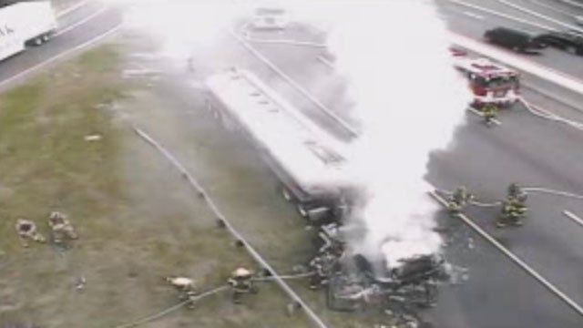 I-95 is closed because of a tanker truck fire. (CT DOT)