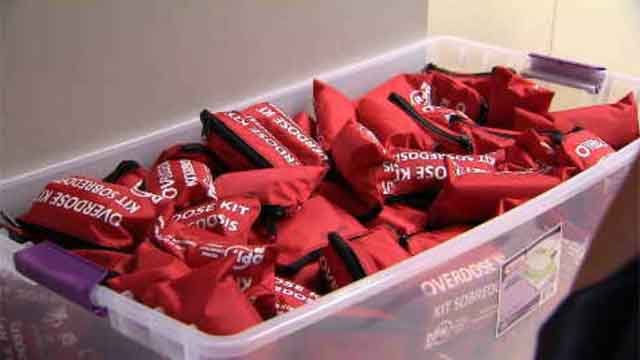Free kits with Narcan were given away on Wednesday in New Haven. (WFSB)