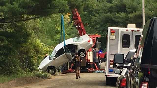 Car pulled from Middletown reservoir. (WFSB)