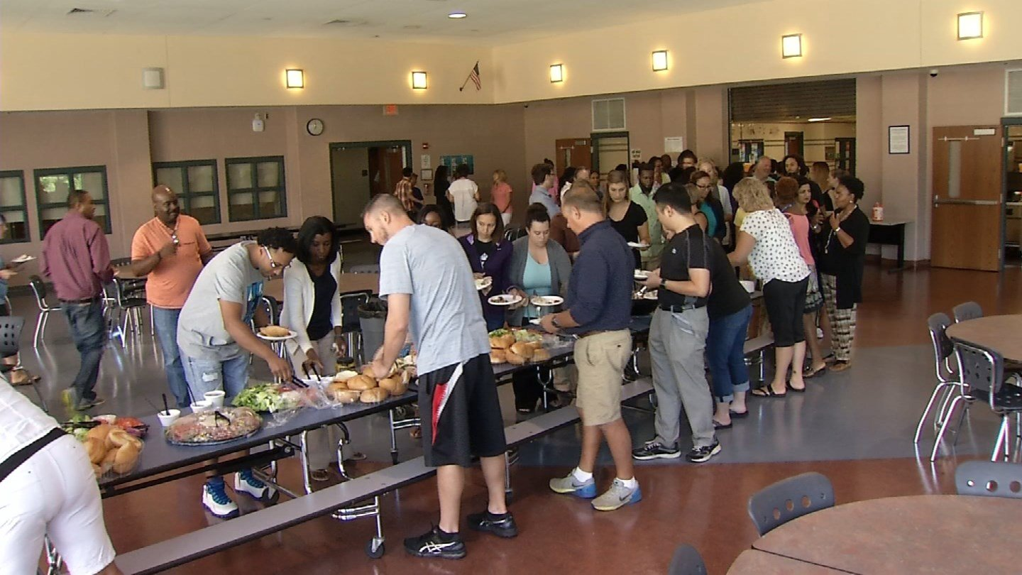 The Liberty Bank Surprise Squad surprised some teachers in Bloomfield with lunch. (WFSB photo)