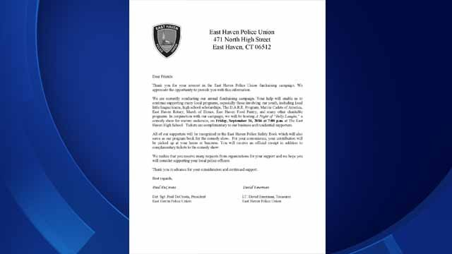 The East Haven Police Union sends this letter to residents for their annual comedy show. (East Haven PD)