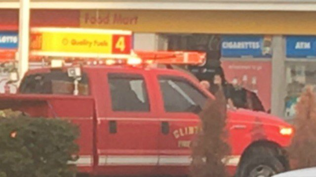 A car crashed into the Shell gas station on East Main Street in Clinton. (Eyewitness photo)