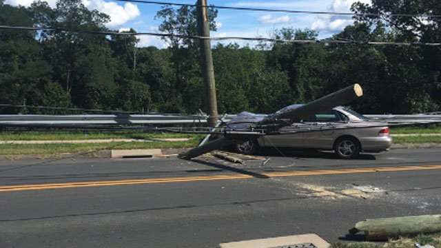 A car crashed into an utility pole in Vernon on Friday afternoon, police said.  (Vernon Police Department)