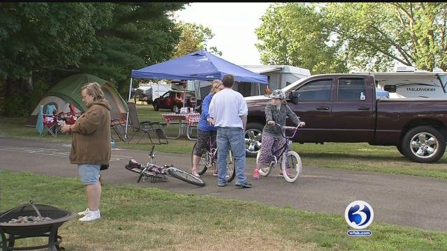 Campers at Hammonasset State Park were bracing for the storm that could spoil the unofficial end of summer.(WFSB)