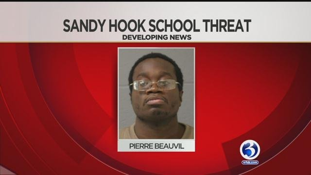 Pierre Beauvil was arrested after police said he madea threatening phone callto Sandy Hook Elementary School last month.(WFSB)