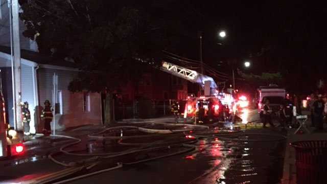 A second-alarm fire reported in New Haven on Saturday. (WFSB)