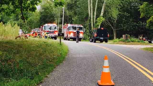 Crews were battling a few brush fires in the area of Leonard Bridge Road on Monday. (WFSB)