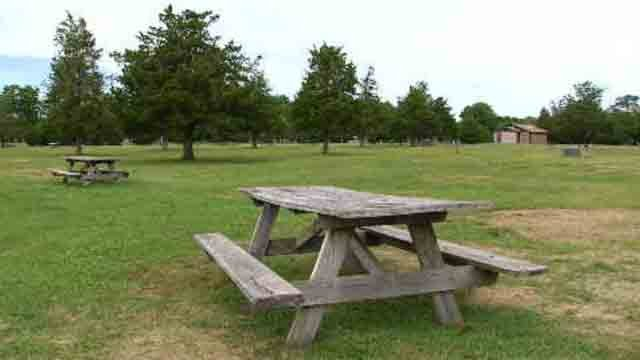 The campground at Hammonasset was empty on Monday (WFSB)