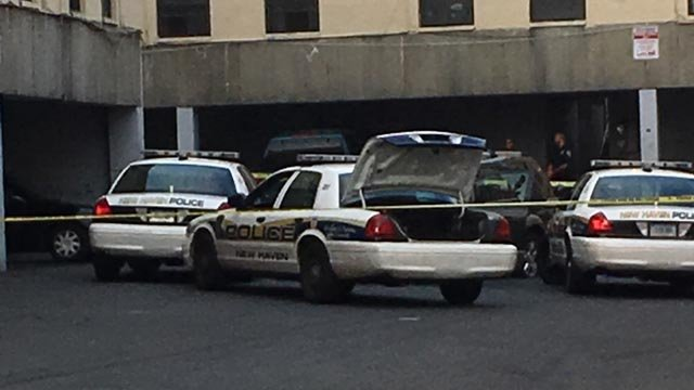 The suspect's car was found at a housing complex in New Haven. (WFSB photo)