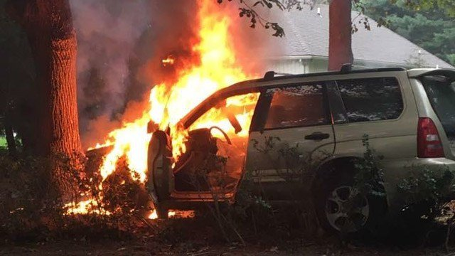 A woman and three dogs were pulled from this fiery wreck on Monday. (Branford police photo)