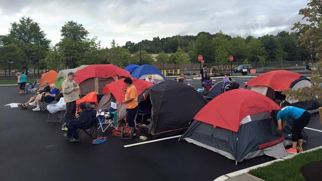 People began camping out at the new Chick-fil-A North Haven location early Wednesday morning. (North Haven Chick-fil-A Facebook photo)