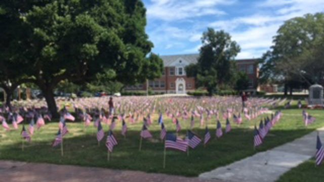 Hundreds of people are expected to visit the Old Saybrook Town Green this weekend after volunteers setup a 9/11 memorial.  (WFSB)