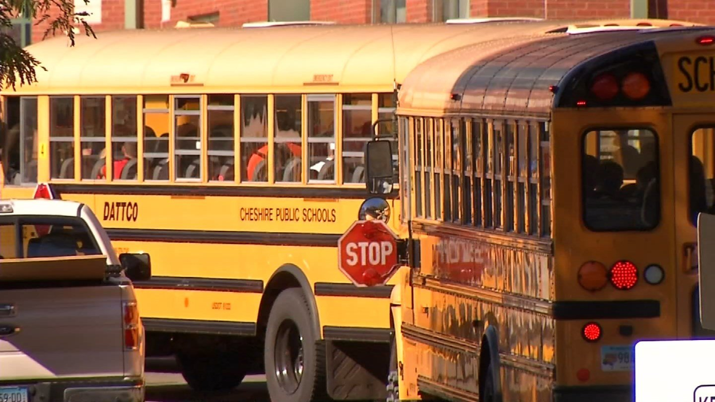 Buses took Cheshire High School students home early Monday following a plumbing issue. (WFSB photo)