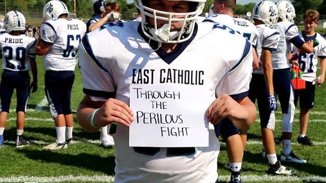 Students at East Catholic High School are showing patriotism on the football field. (East Catholic High School)