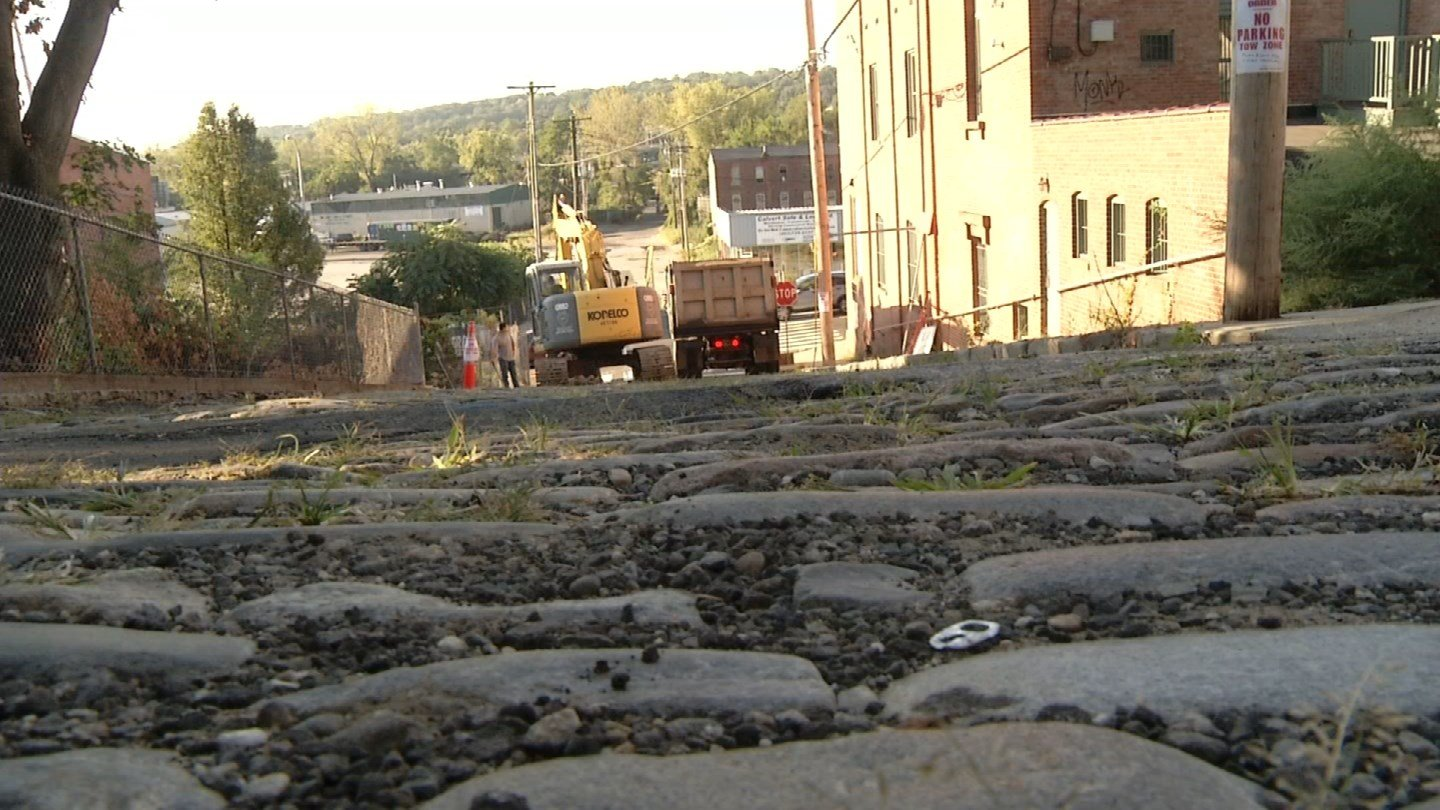The last 200-year-old Cobblestone street in Derby is being reworked in the name of safety. (WFSB photo)