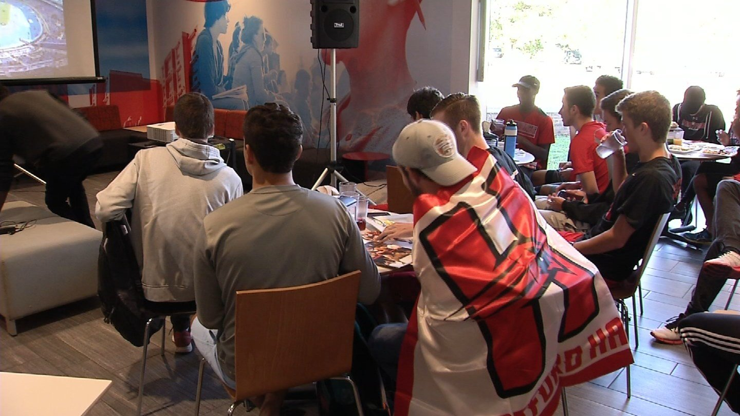 Friends, family and students gathered to support Chaz Davis in the Paralympic Games. (WFSB photo)