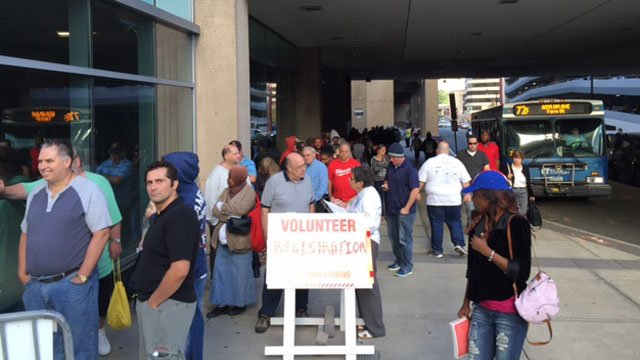 Lines continued outside the Mission of Mercy clinic at the XL Center Friday morning. (WFSB photo)