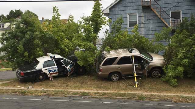 A New Britain police officer was involved in a crash Sunday morning. (WFSB)