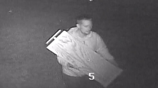 Police are  looking for the man responsible for taking a collection box from a retreat center last week. (Stonington Police Department)