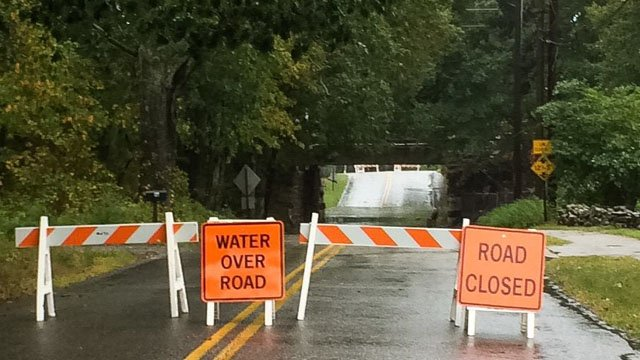 Old Lyme officials warned drivers not to drive on flooded streets. (Old Lyme Emergency Management Facebook photo)