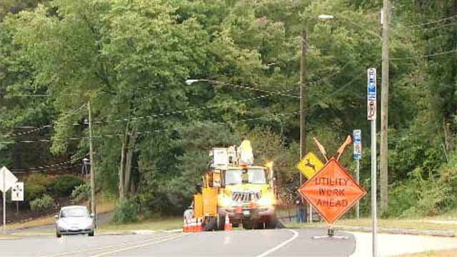 Crews were working to restore power on Monday afternoon (WFSB)