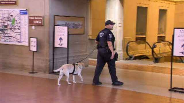 An increase in security was seen at Union Station on Monday morning (WFSB)