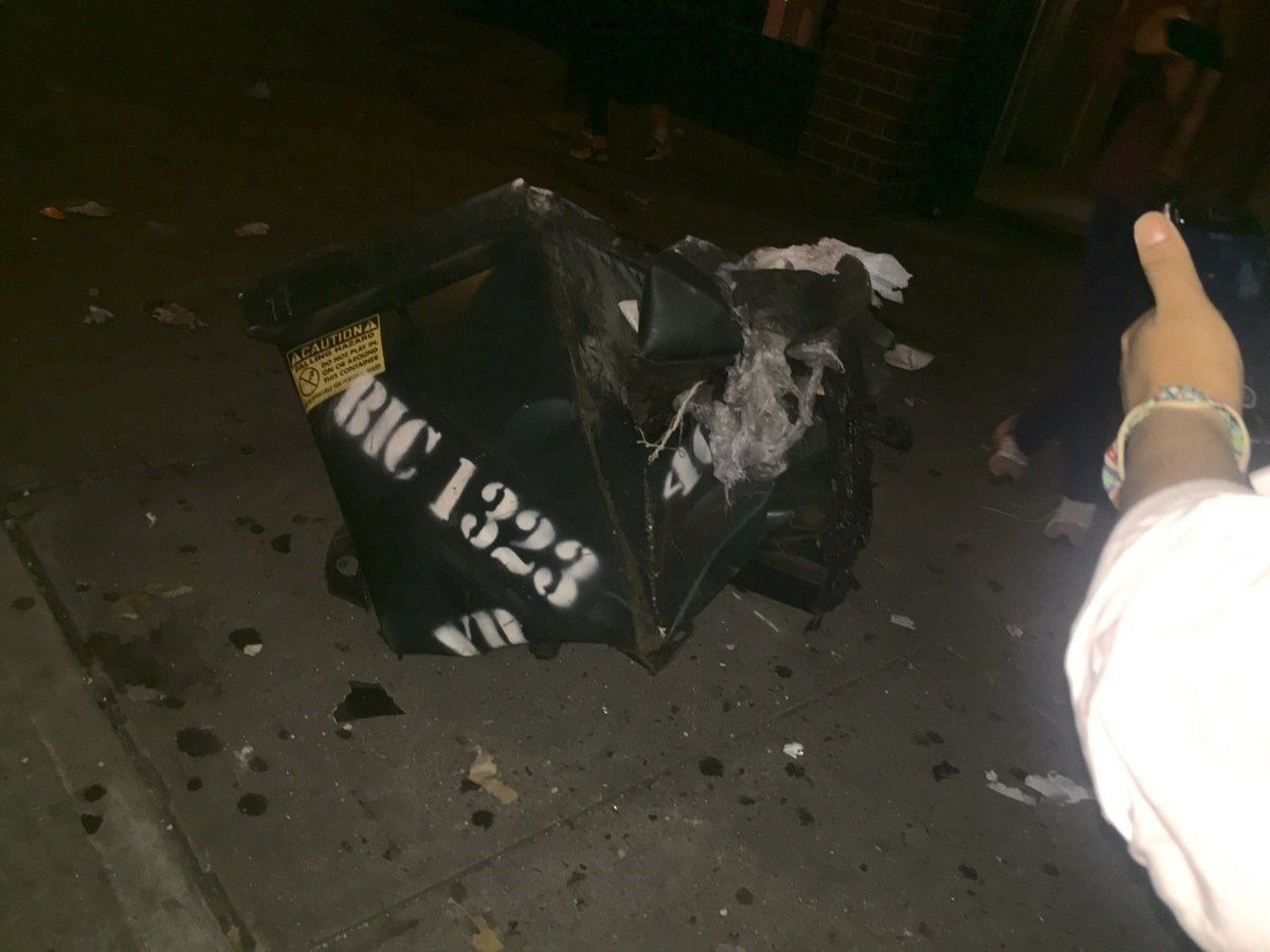 "On Saturday, Chris Duffy tweeted this photo saying ""Huge explosion in Chelsea blew this dumpster."" (Chris Duffy)"