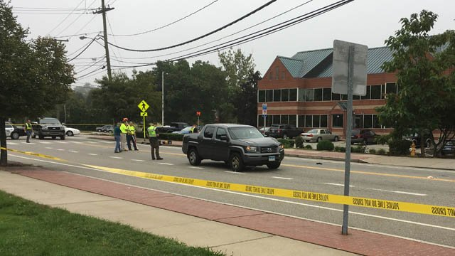 A pedestrian was struck by a vehicle on Hartford Road in Manchester. (WFSB photo)