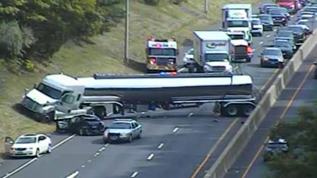 A rollover has shutdown the southbound side of Route 9 in Middletown. (CT DOT)