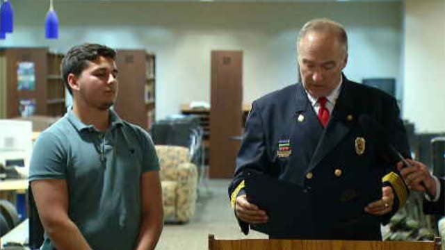 Dylan Bernetich was honored on Tuesday night (WFSB)