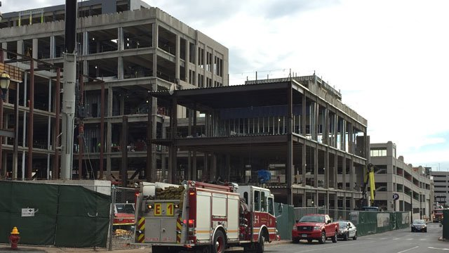 Minor injuries were reported when concrete fell on a crane. (WFSB photo)