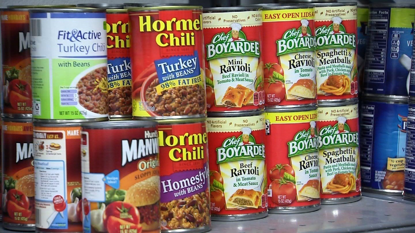 Some of the canned goods donated to the Tunxis Community College food pantry. (WFSB photo)