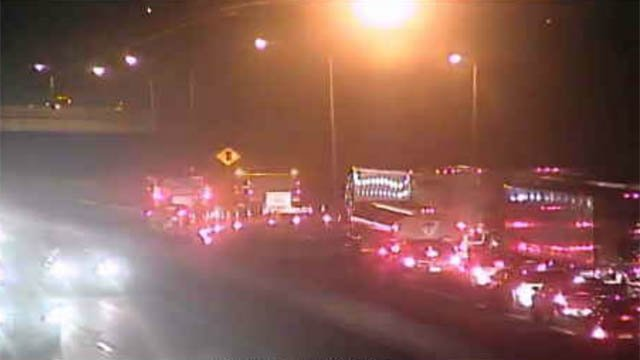I-95 south was closed in Westport Wednesday night following a deadly crash. (DOT photo)
