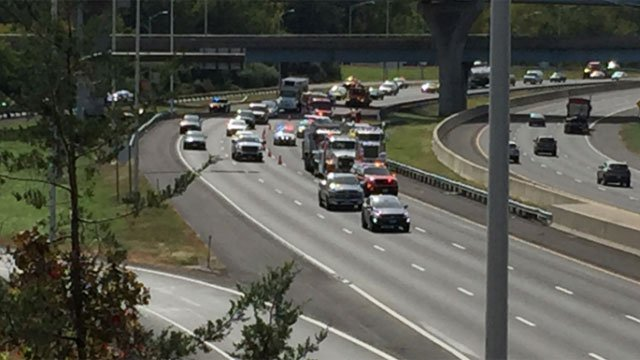 A motor vehicle crashed and caught fire on Interstate 84 in Southington on Thursday afternoon. (WFSB)