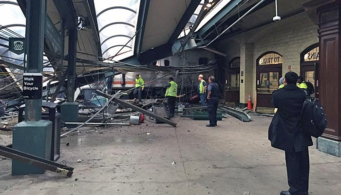 A commuter train crashed through the Hoboken, NJ, Terminal on Thursday, injuring approximately 100 people, according to initial reports. (Source: Corey Futterman/Twitter)